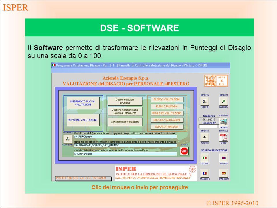 © ISPER 1996-2010 ISPER DSE - SOFTWARE Il Software permette di trasformare le rilevazioni in Punteggi di Disagio su una scala da 0 a 100.