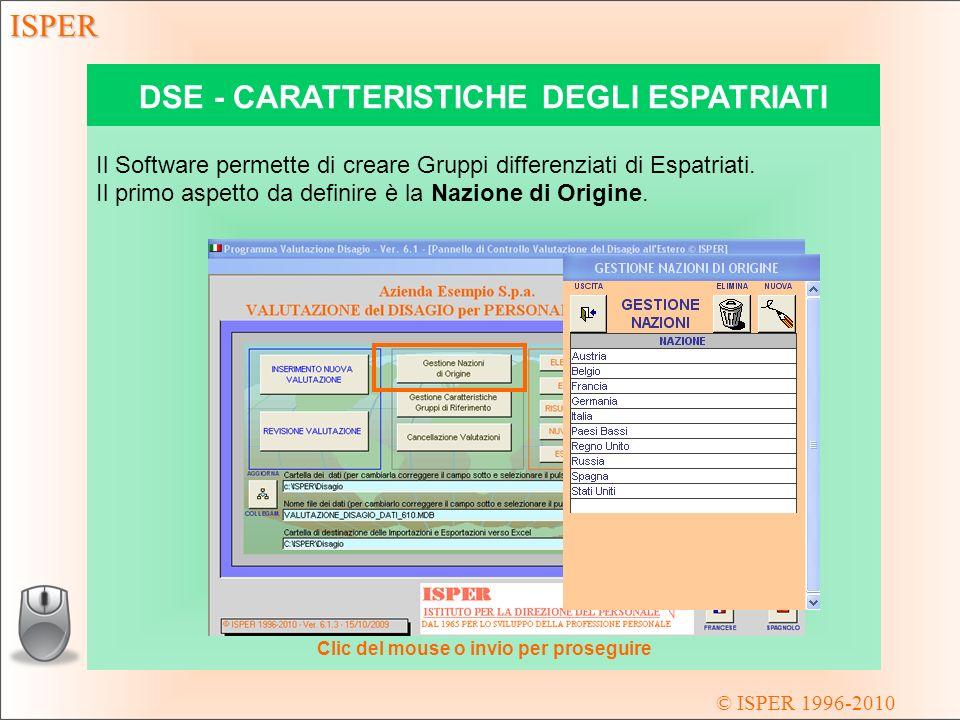 © ISPER 1996-2010 ISPER DSE - CARATTERISTICHE DEGLI ESPATRIATI Il secondo aspetto da definire sono le Caratteristiche dei Gruppi di Riferimento.