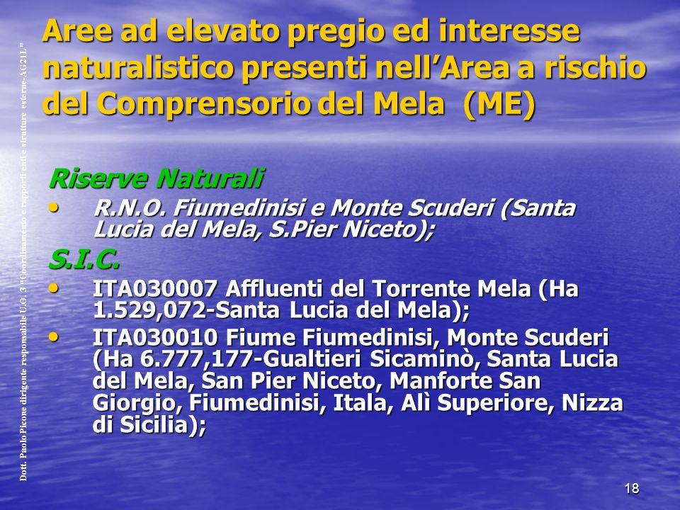 18 Aree ad elevato pregio ed interesse naturalistico presenti nellArea a rischio del Comprensorio del Mela (ME) Riserve Naturali R.N.O.