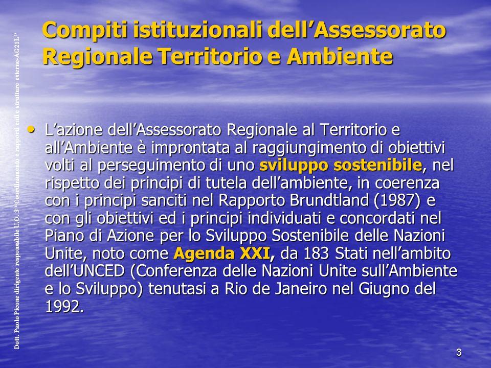 3 Compiti istituzionali dellAssessorato Regionale Territorio e Ambiente Lazione dellAssessorato Regionale al Territorio e allAmbiente è improntata al raggiungimento di obiettivi volti al perseguimento di uno sviluppo sostenibile, nel rispetto dei principi di tutela dellambiente, in coerenza con i principi sanciti nel Rapporto Brundtland (1987) e con gli obiettivi ed i principi individuati e concordati nel Piano di Azione per lo Sviluppo Sostenibile delle Nazioni Unite, noto come Agenda XXI, da 183 Stati nellambito dellUNCED (Conferenza delle Nazioni Unite sullAmbiente e lo Sviluppo) tenutasi a Rio de Janeiro nel Giugno del 1992.