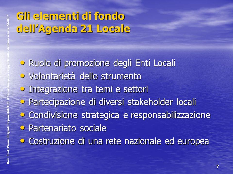 7 Gli elementi di fondo dellAgenda 21 Locale Ruolo di promozione degli Enti Locali Ruolo di promozione degli Enti Locali Volontarietà dello strumento Volontarietà dello strumento Integrazione tra temi e settori Integrazione tra temi e settori Partecipazione di diversi stakeholder locali Partecipazione di diversi stakeholder locali Condivisione strategica e responsabilizzazione Condivisione strategica e responsabilizzazione Partenariato sociale Partenariato sociale Costruzione di una rete nazionale ed europea Costruzione di una rete nazionale ed europea Dott.