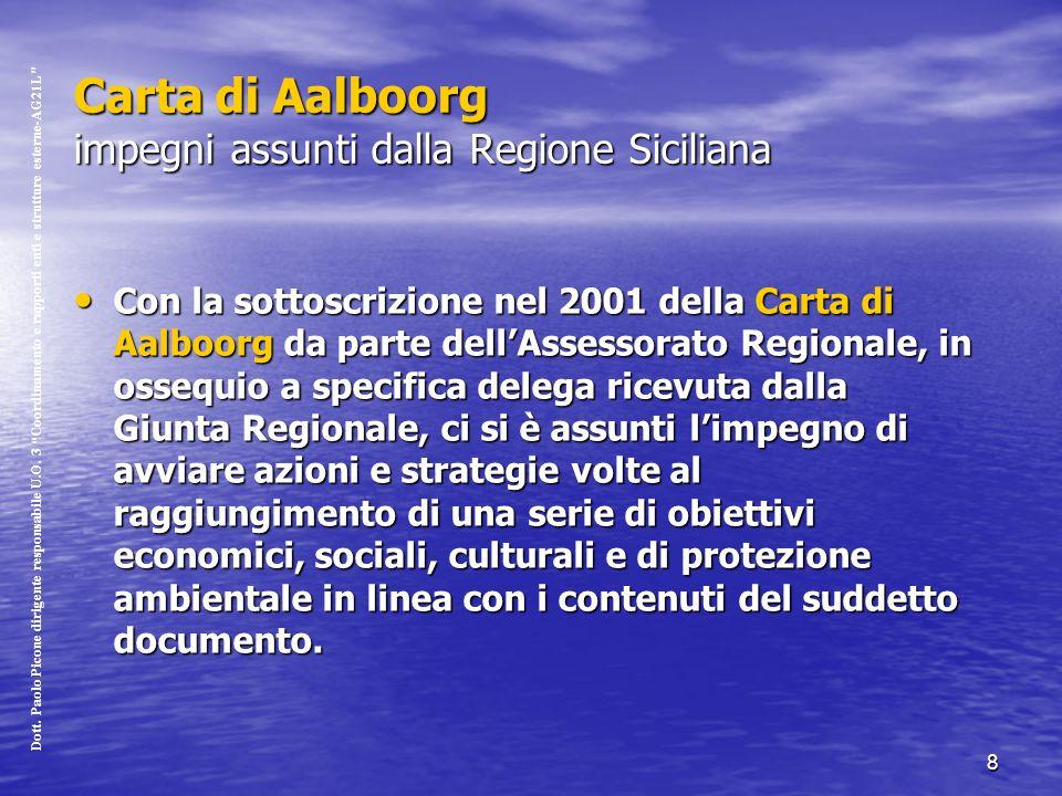 8 Carta di Aalboorg impegni assunti dalla Regione Siciliana Con la sottoscrizione nel 2001 della Carta di Aalboorg da parte dellAssessorato Regionale, in ossequio a specifica delega ricevuta dalla Giunta Regionale, ci si è assunti limpegno di avviare azioni e strategie volte al raggiungimento di una serie di obiettivi economici, sociali, culturali e di protezione ambientale in linea con i contenuti del suddetto documento.