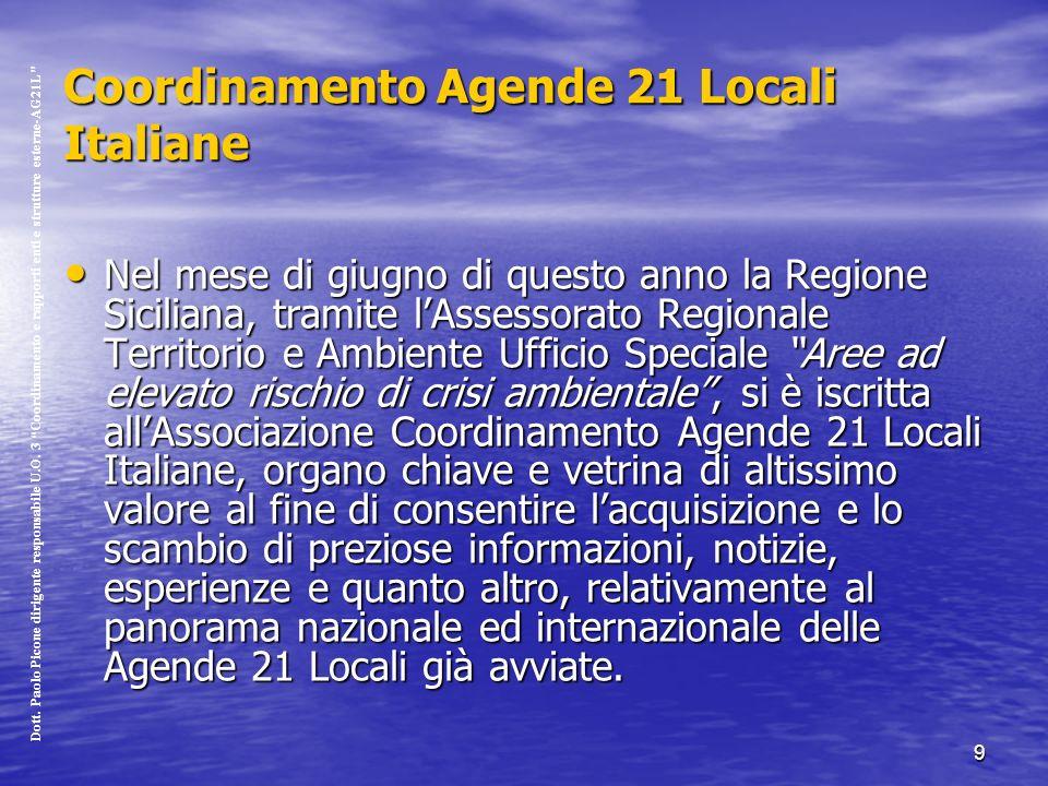 9 Coordinamento Agende 21 Locali Italiane Nel mese di giugno di questo anno la Regione Siciliana, tramite lAssessorato Regionale Territorio e Ambiente Ufficio Speciale Aree ad elevato rischio di crisi ambientale, si è iscritta allAssociazione Coordinamento Agende 21 Locali Italiane, organo chiave e vetrina di altissimo valore al fine di consentire lacquisizione e lo scambio di preziose informazioni, notizie, esperienze e quanto altro, relativamente al panorama nazionale ed internazionale delle Agende 21 Locali già avviate.