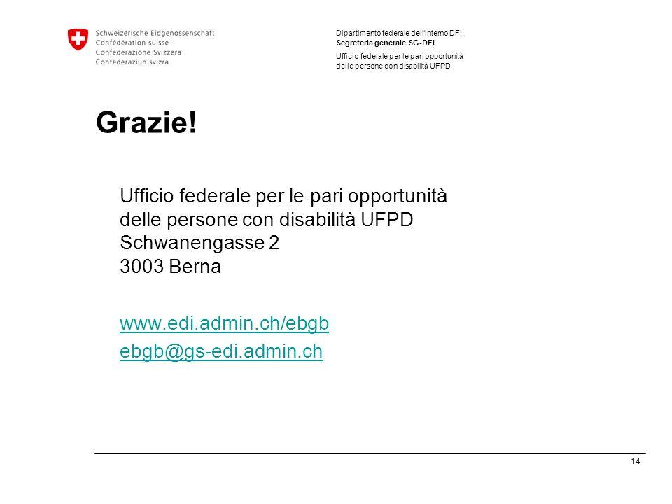 14 Dipartimento federale dellinterno DFI Segreteria generale SG-DFI Ufficio federale per le pari opportunità delle persone con disabilità UFPD Grazie.