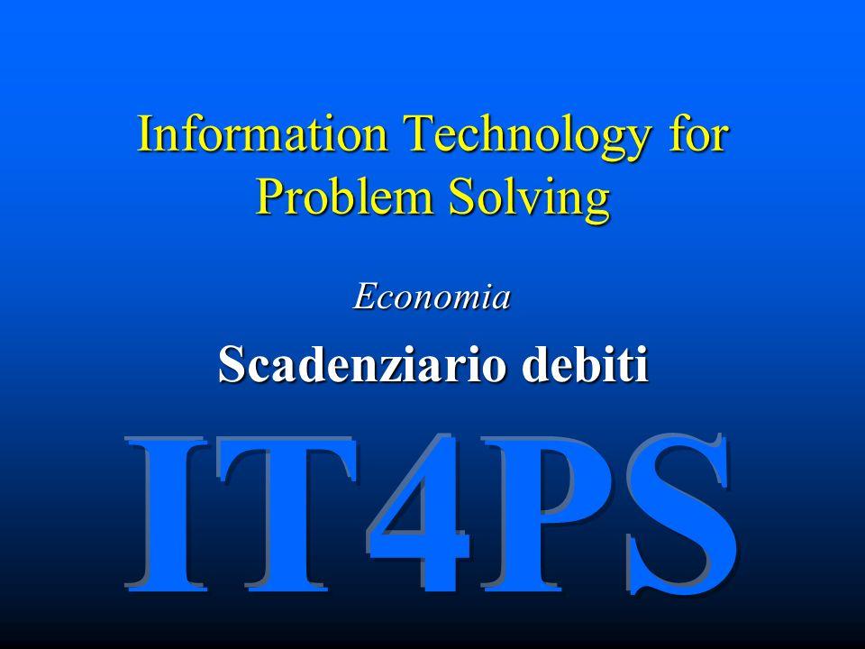 IT4PS Copyright © 2005 – The McGraw-Hill Companies srl Il foglio elettronico per economia Impostiamo quindi gli argomenti della funzione…