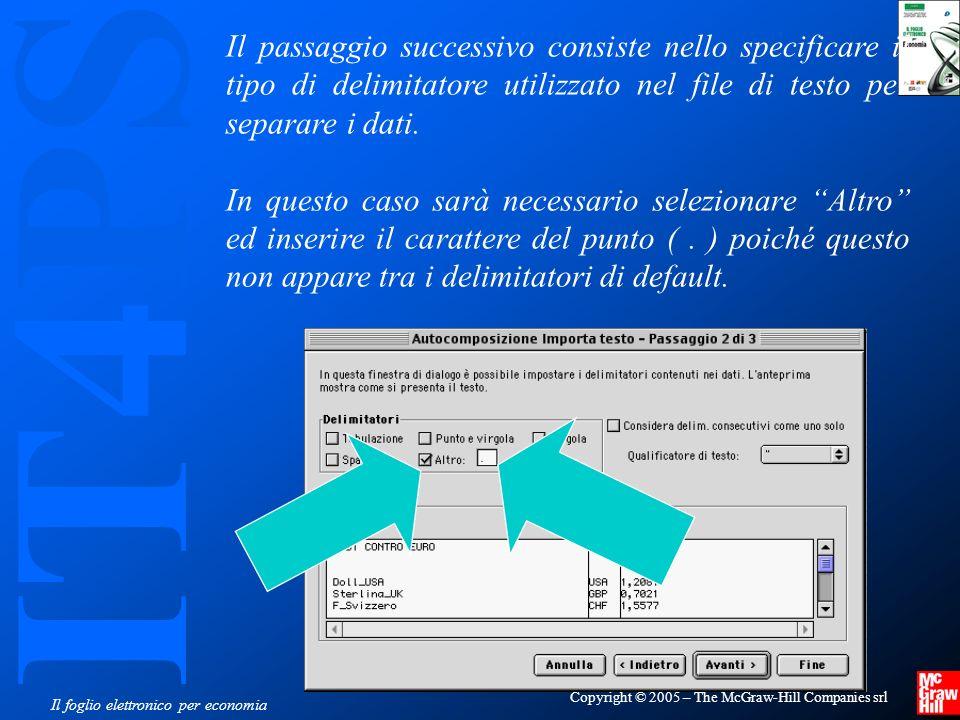 IT4PS Copyright © 2005 – The McGraw-Hill Companies srl Il foglio elettronico per economia Il passaggio successivo consiste nello specificare il tipo di delimitatore utilizzato nel file di testo per separare i dati.