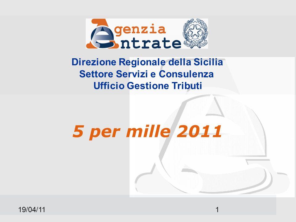 19/04/111 Direzione Regionale della Sicilia Settore Servizi e Consulenza Ufficio Gestione Tributi 5 per mille 2011