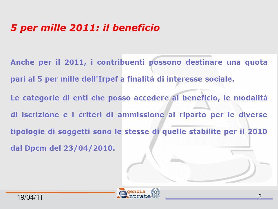 19/04/11 2 5 per mille 2011: il beneficio Anche per il 2011, i contribuenti possono destinare una quota pari al 5 per mille dell Irpef a finalità di interesse sociale.