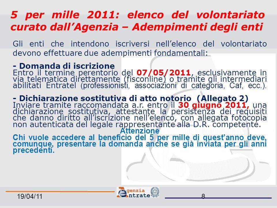 19/04/1129 ANNO D IMPOSTA 2009 TOTALEAMMESSE%ESCLUSE% 1874166488,7921011,21
