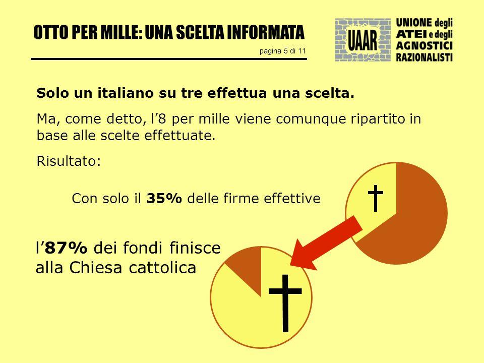 OTTO PER MILLE: UNA SCELTA INFORMATA pagina 5 di 11 Solo un italiano su tre effettua una scelta.