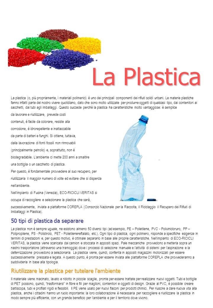 La plastica (o, più propriamente, i materiali polimerici) è uno dei principali componenti dei rifiuti solidi urbani. Le materie plastiche fanno infatt