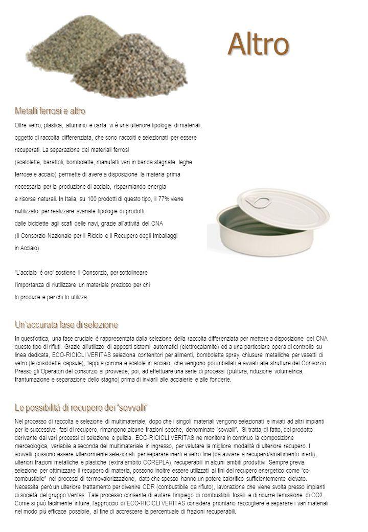 Metalli ferrosi e altro Oltre vetro, plastica, alluminio e carta, vi è una ulteriore tipologia di materiali, oggetto di raccolta differenziata, che sono raccolti e selezionati per essere recuperati.