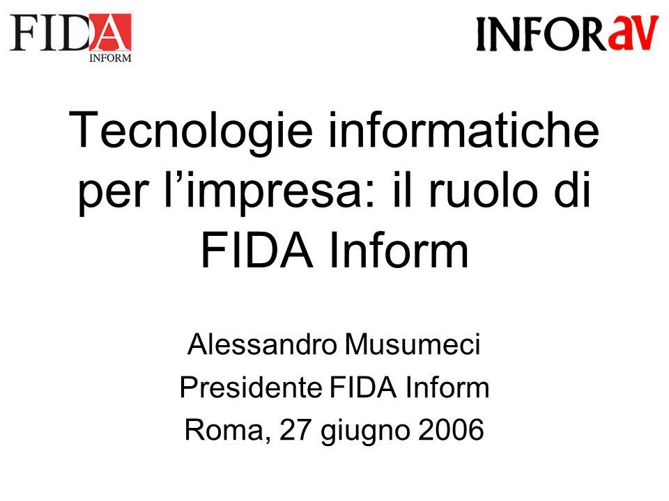 Tecnologie informatiche per limpresa: il ruolo di FIDA Inform Alessandro Musumeci Presidente FIDA Inform Roma, 27 giugno 2006