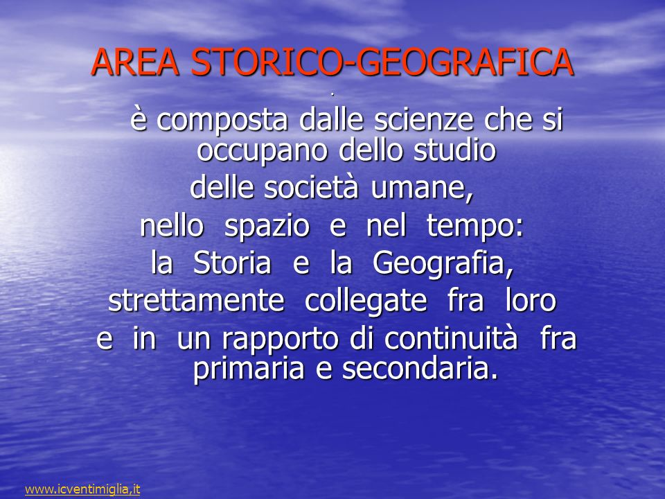 AREA STORICO-GEOGRAFICA.