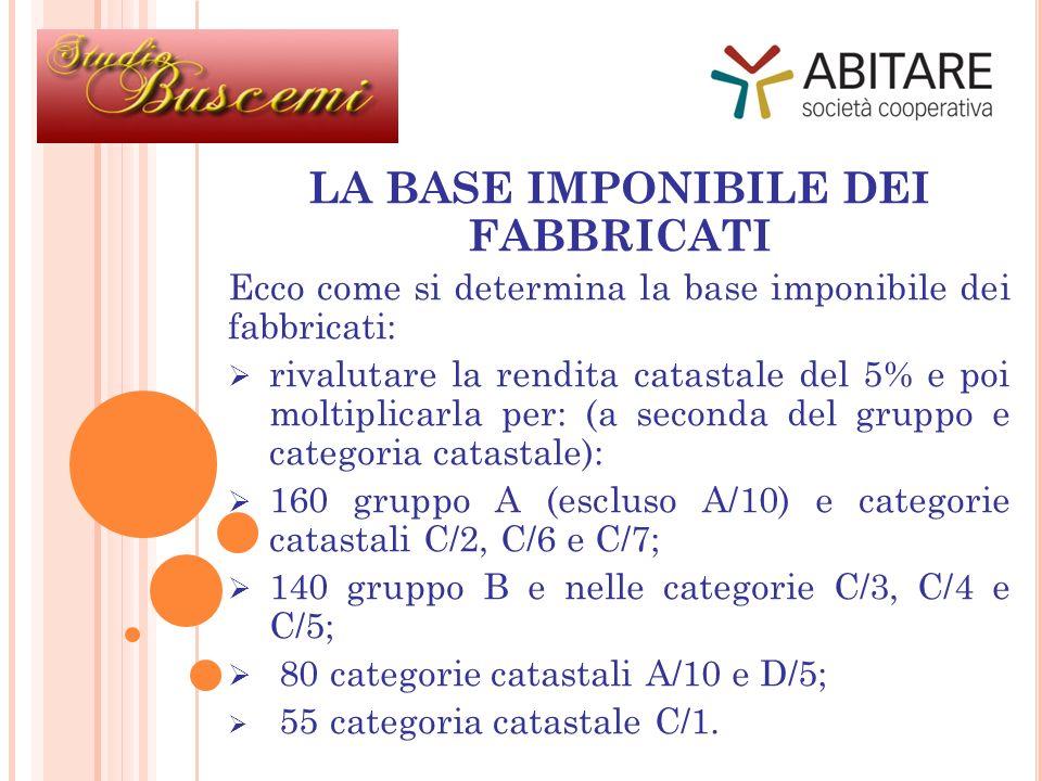 LA BASE IMPONIBILE DEI FABBRICATI Ecco come si determina la base imponibile dei fabbricati: rivalutare la rendita catastale del 5% e poi moltiplicarla per: (a seconda del gruppo e categoria catastale): 160 gruppo A (escluso A/10) e categorie catastali C/2, C/6 e C/7; 140 gruppo B e nelle categorie C/3, C/4 e C/5; 80 categorie catastali A/10 e D/5; 55 categoria catastale C/1.