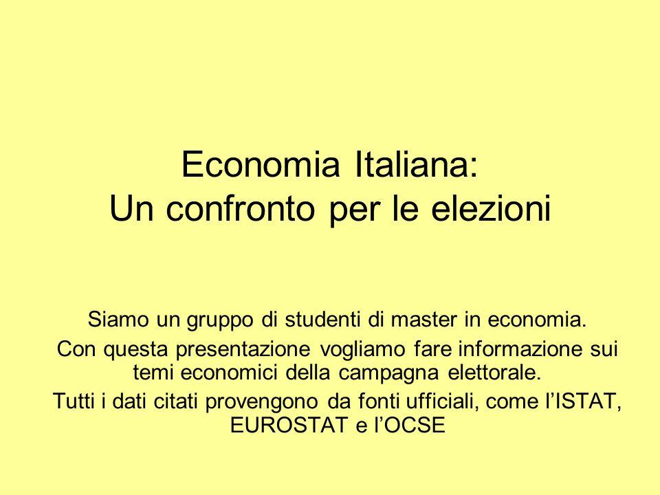 Economia Italiana: Un confronto per le elezioni Siamo un gruppo di studenti di master in economia.