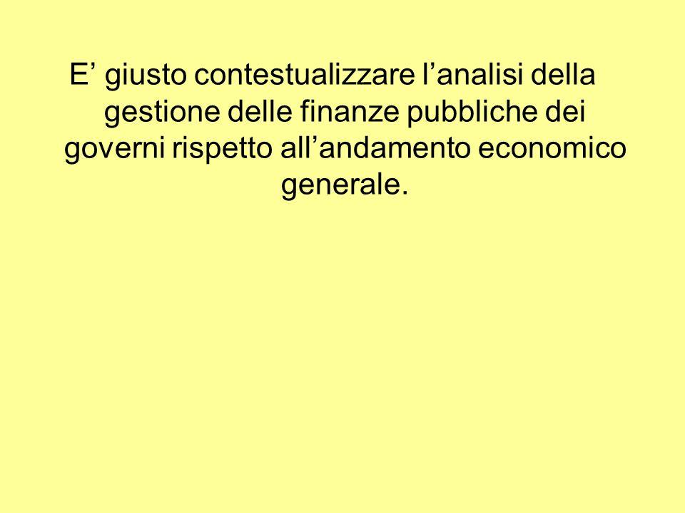 E giusto contestualizzare lanalisi della gestione delle finanze pubbliche dei governi rispetto allandamento economico generale.