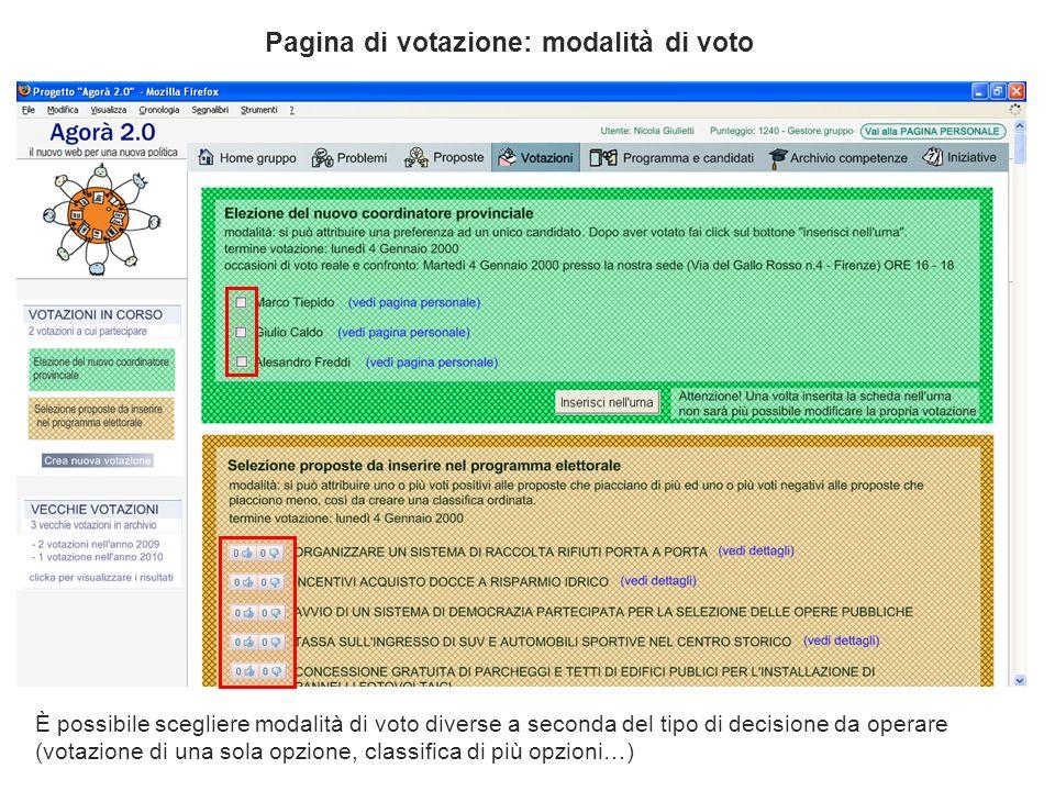 Pagina di votazione: modalità di voto È possibile scegliere modalità di voto diverse a seconda del tipo di decisione da operare (votazione di una sola