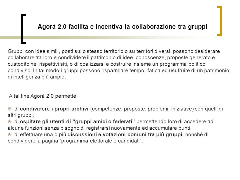 Agorà 2.0 facilita e incentiva la collaborazione tra gruppi Gruppi con idee simili, posti sullo stesso territorio o su territori diversi, possono desi