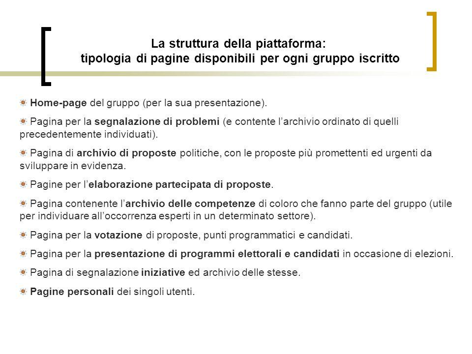 La struttura della piattaforma: tipologia di pagine disponibili per ogni gruppo iscritto Home-page del gruppo (per la sua presentazione). Pagina per l