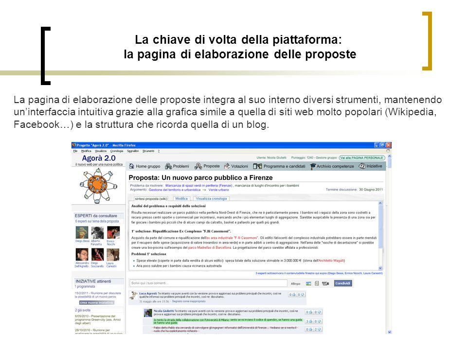 La chiave di volta della piattaforma: la pagina di elaborazione delle proposte La pagina di elaborazione delle proposte integra al suo interno diversi