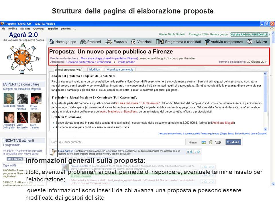 Informazioni generali sulla proposta: titolo, eventuali problema/i ai quali permette di rispondere, eventuale termine fissato per lelaborazione; quest