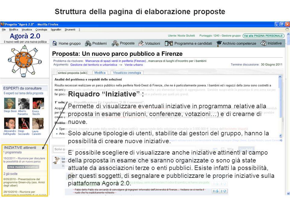 Riquadro Iniziative : Permette di visualizzare eventuali iniziative in programma relative alla proposta in esame (riunioni, conferenze, votazioni…) e