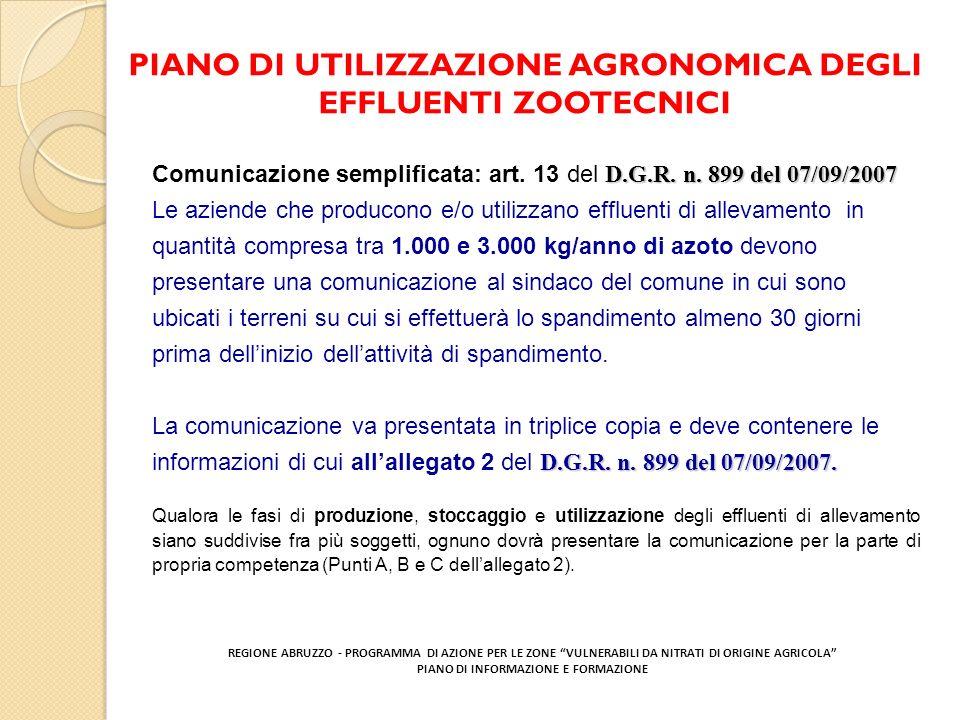 PIANO DI UTILIZZAZIONE AGRONOMICA DEGLI EFFLUENTI ZOOTECNICI REGIONE ABRUZZO - PROGRAMMA DI AZIONE PER LE ZONE VULNERABILI DA NITRATI DI ORIGINE AGRIC