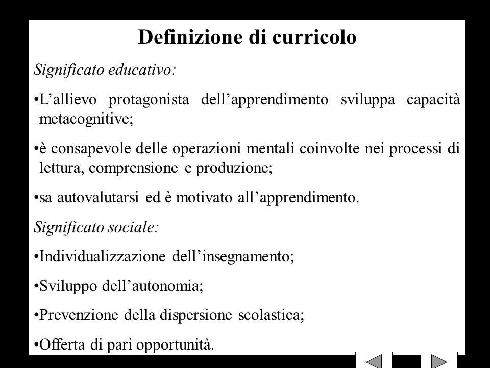 Definizione di curricolo Significato educativo: Lallievo protagonista dellapprendimento sviluppa capacità metacognitive; è consapevole delle operazion