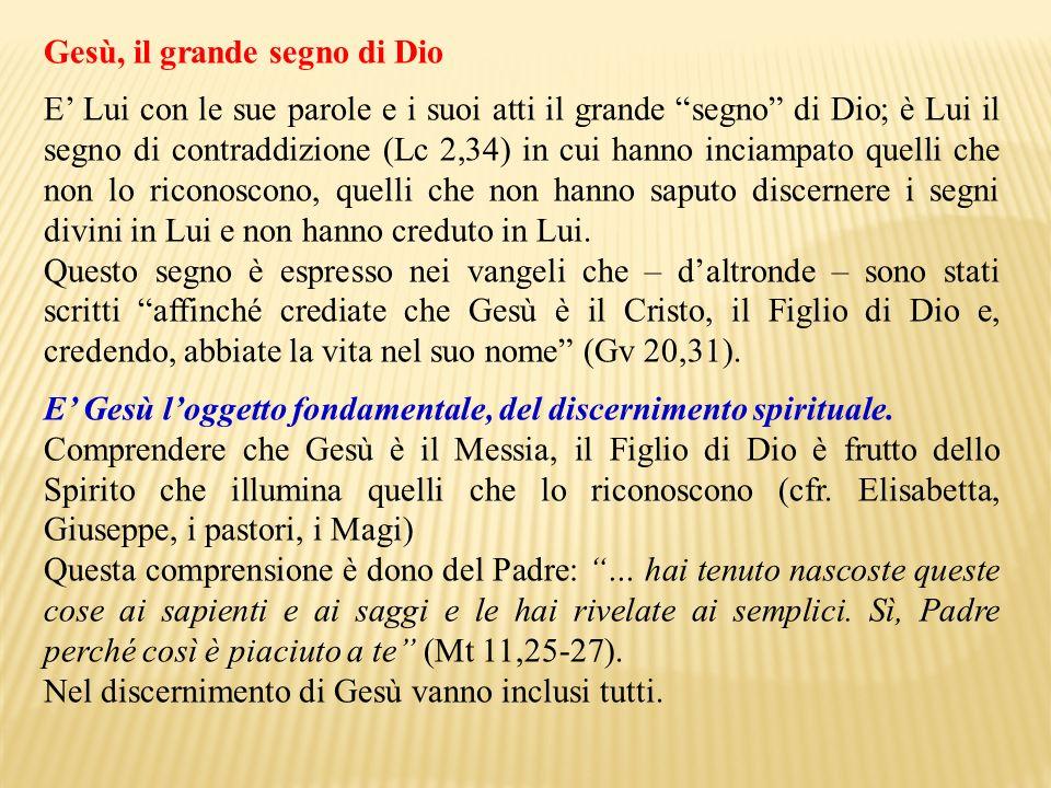 Gesù, il grande segno di Dio E Lui con le sue parole e i suoi atti il grande segno di Dio; è Lui il segno di contraddizione (Lc 2,34) in cui hanno inc