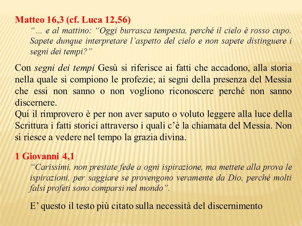 Matteo 16,3 (cf. Luca 12,56) … e al mattino: Oggi burrasca tempesta, perché il cielo è rosso cupo. Sapete dunque interpretare laspetto del cielo e non