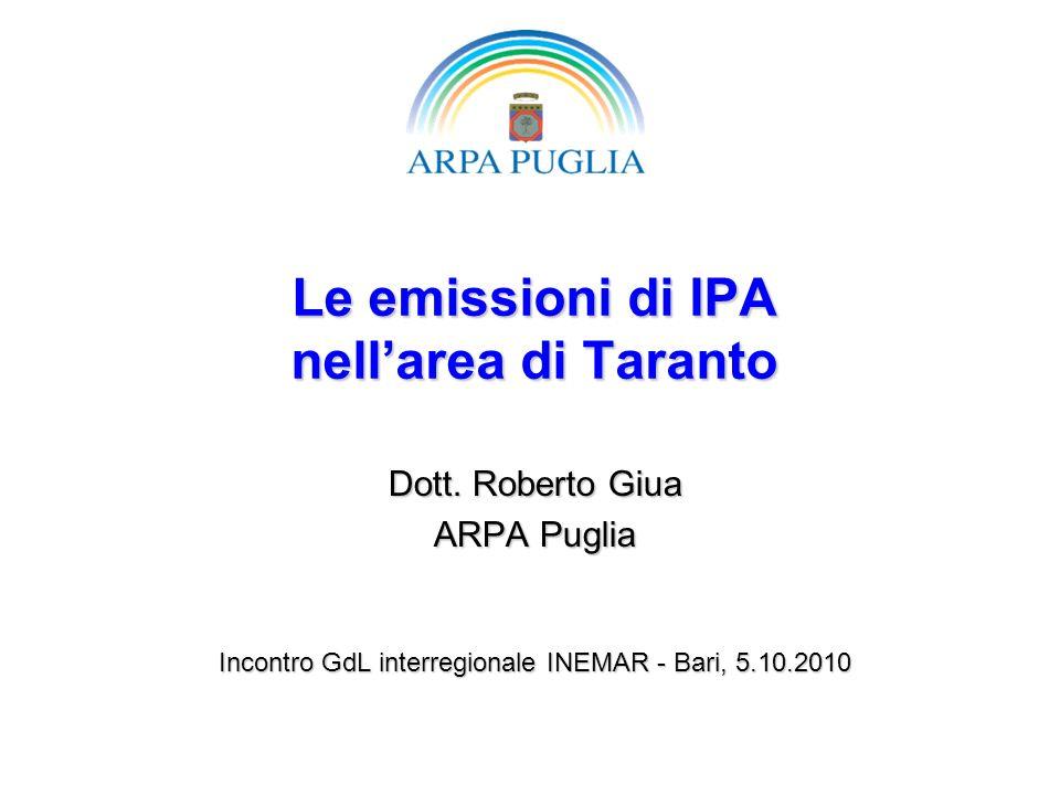 Le emissioni di IPA nellarea di Taranto Dott. Roberto Giua ARPA Puglia Incontro GdL interregionale INEMAR - Bari, 5.10.2010