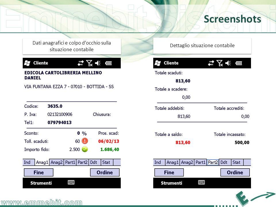 Screenshots Dati anagrafici e colpo docchio sulla situazione contabile Dettaglio situazione contabile