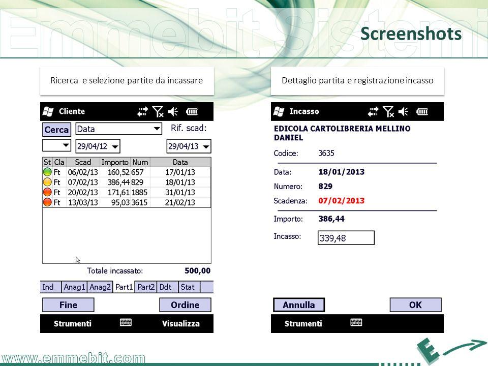 Screenshots Dettaglio partita e registrazione incasso Ricerca e selezione partite da incassare