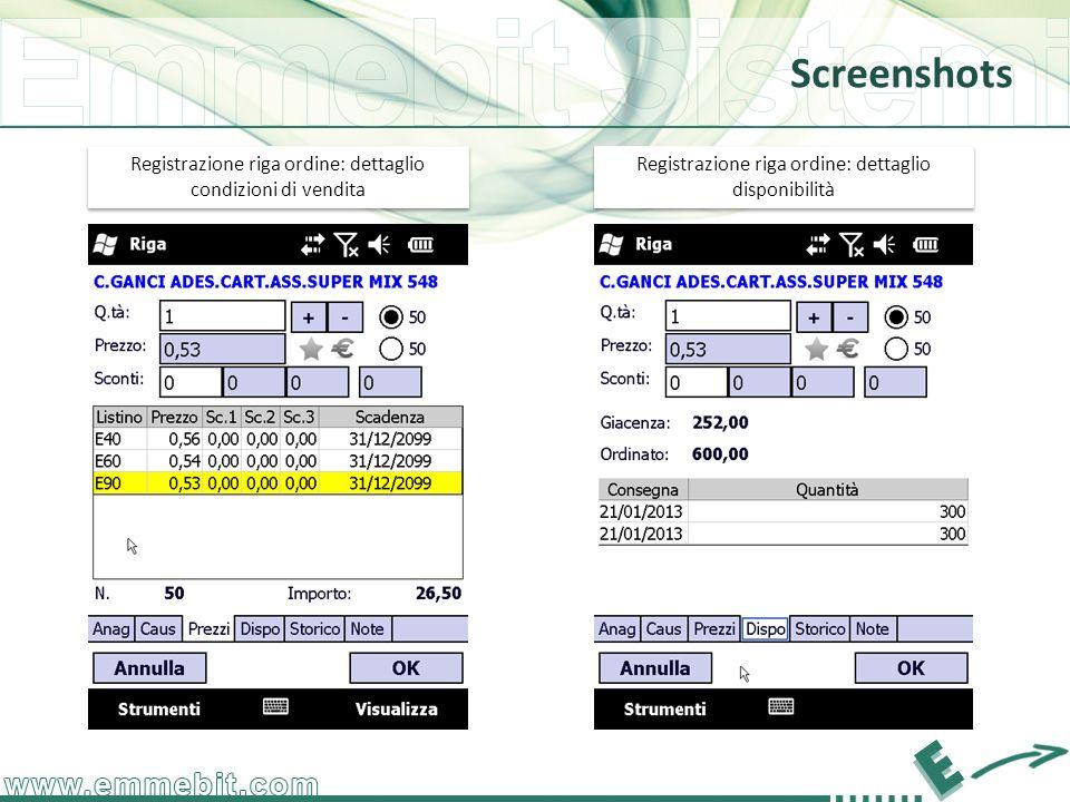 Screenshots Registrazione riga ordine: dettaglio disponibilità Registrazione riga ordine: dettaglio condizioni di vendita