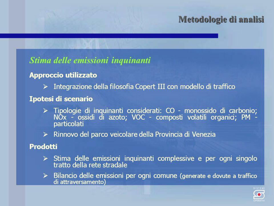 Stima delle emissioni inquinanti Approccio utilizzato Integrazione della filosofia Copert III con modello di traffico Ipotesi di scenario Tipologie di inquinanti considerati: CO - monossido di carbonio; NOx - ossidi di azoto; VOC - composti volatili organici; PM - particolati Rinnovo del parco veicolare della Provincia di Venezia Prodotti Stima delle emissioni inquinanti complessive e per ogni singolo tratto della rete stradale Bilancio delle emissioni per ogni comune (generate e dovute a traffico di attraversamento) Metodologie di analisi