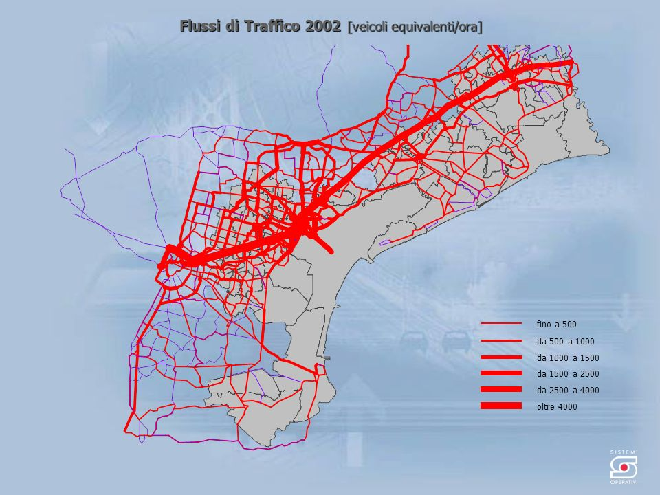 Flussi di Traffico 2002 [veicoli equivalenti/ora] da 500 a 1000 fino a 500 da 1000 a 1500 da 1500 a 2500 oltre 4000 da 2500 a 4000