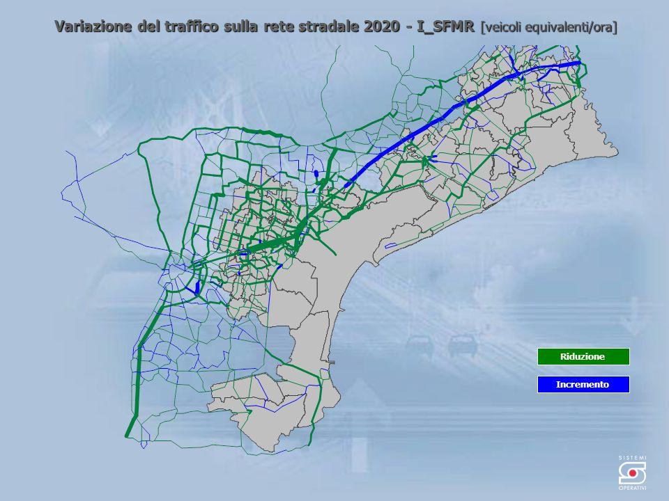 Variazione del traffico sulla rete stradale 2020 - I_SFMR [veicoli equivalenti/ora] Incremento Riduzione
