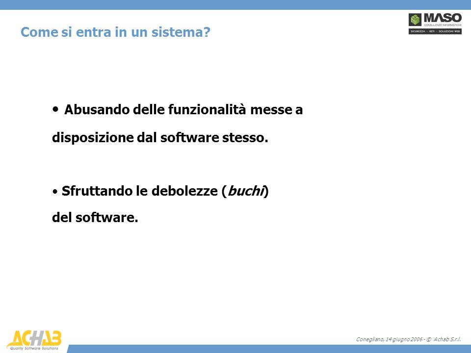 Conegliano, 14 giugno 2006 - © Achab S.r.l. Come si entra in un sistema? Abusando delle funzionalità messe a disposizione dal software stesso. Sfrutta