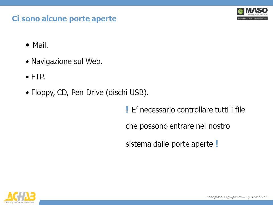 Conegliano, 14 giugno 2006 - © Achab S.r.l. Ci sono alcune porte aperte Mail. Navigazione sul Web. FTP. Floppy, CD, Pen Drive (dischi USB). ! E necess