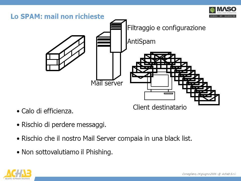 Conegliano, 14 giugno 2006 - © Achab S.r.l. Lo SPAM: mail non richieste Client destinatario Mail server Calo di efficienza. Rischio di perdere messagg