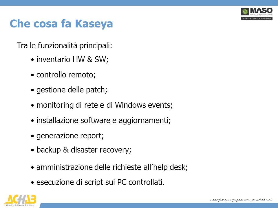 Conegliano, 14 giugno 2006 - © Achab S.r.l. Tra le funzionalità principali: Che cosa fa Kaseya inventario HW & SW; controllo remoto; gestione delle pa