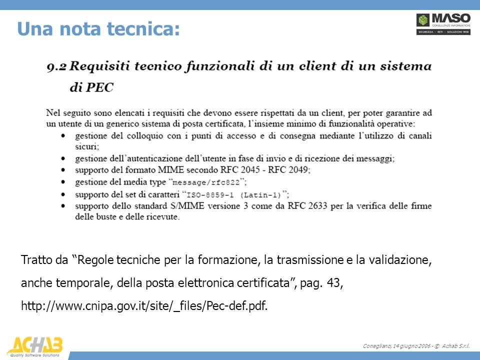 Conegliano, 14 giugno 2006 - © Achab S.r.l. Tratto da Regole tecniche per la formazione, la trasmissione e la validazione, anche temporale, della post