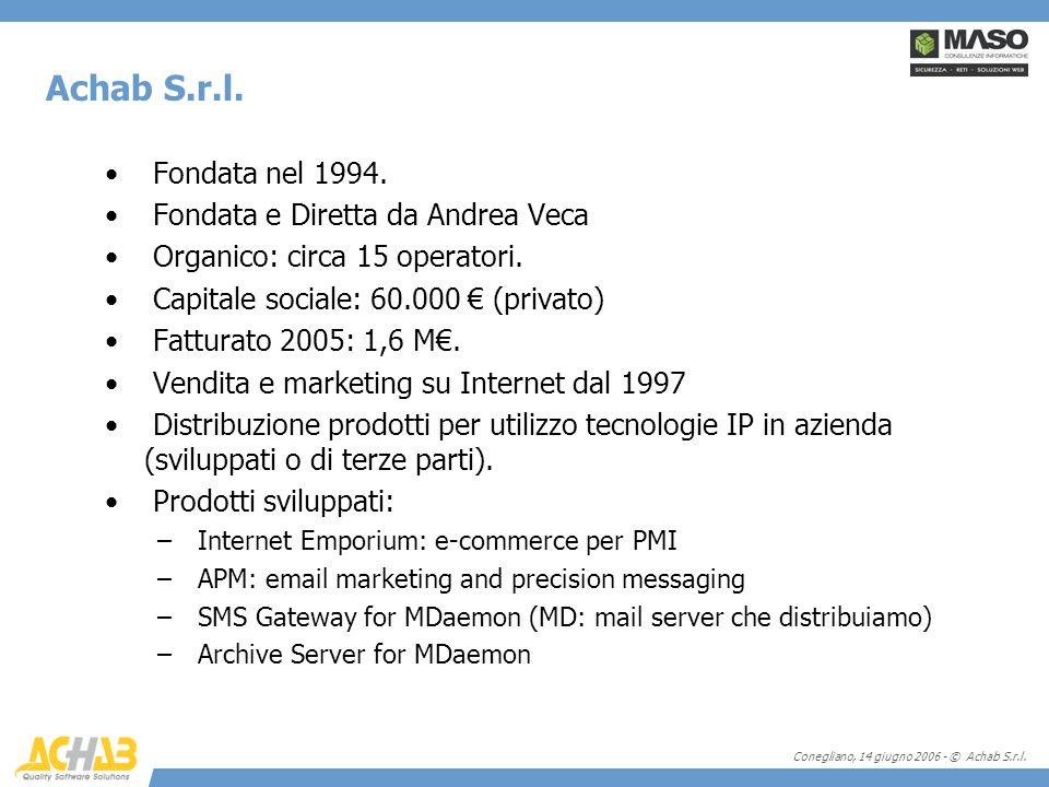 Conegliano, 14 giugno 2006 - © Achab S.r.l. Achab S.r.l. Fondata nel 1994. Fondata e Diretta da Andrea Veca Organico: circa 15 operatori. Capitale soc