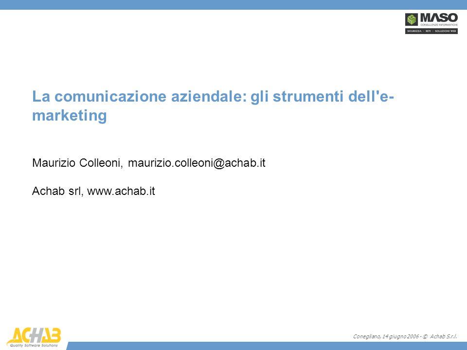 Conegliano, 14 giugno 2006 - © Achab S.r.l. La comunicazione aziendale: gli strumenti dell'e- marketing Maurizio Colleoni, maurizio.colleoni@achab.it