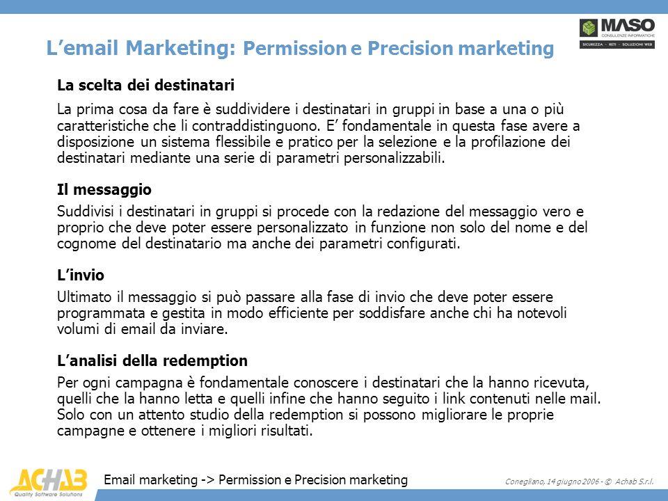 Conegliano, 14 giugno 2006 - © Achab S.r.l. Lemail Marketing: Permission e Precision marketing La scelta dei destinatari La prima cosa da fare è suddi