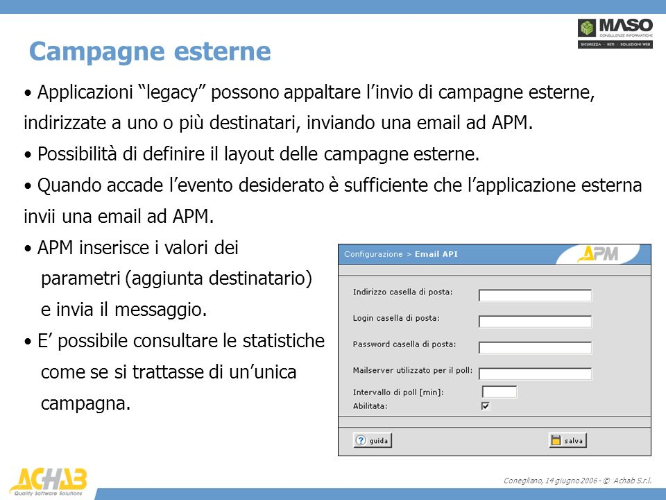 Conegliano, 14 giugno 2006 - © Achab S.r.l. Applicazioni legacy possono appaltare linvio di campagne esterne, indirizzate a uno o più destinatari, inv