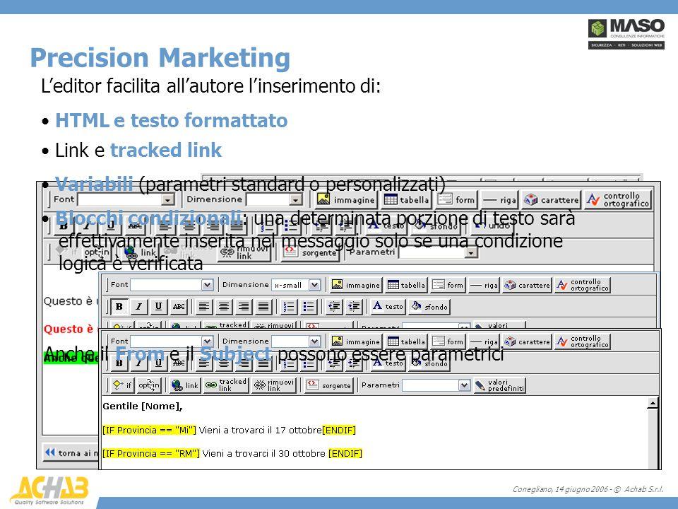 Conegliano, 14 giugno 2006 - © Achab S.r.l. Leditor facilita allautore linserimento di: Precision Marketing Link e tracked link Variabili (parametri s