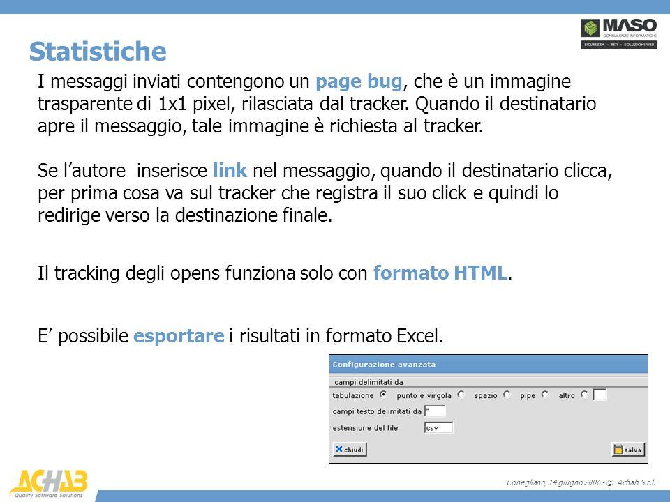 Conegliano, 14 giugno 2006 - © Achab S.r.l. I messaggi inviati contengono un page bug, che è un immagine trasparente di 1x1 pixel, rilasciata dal trac