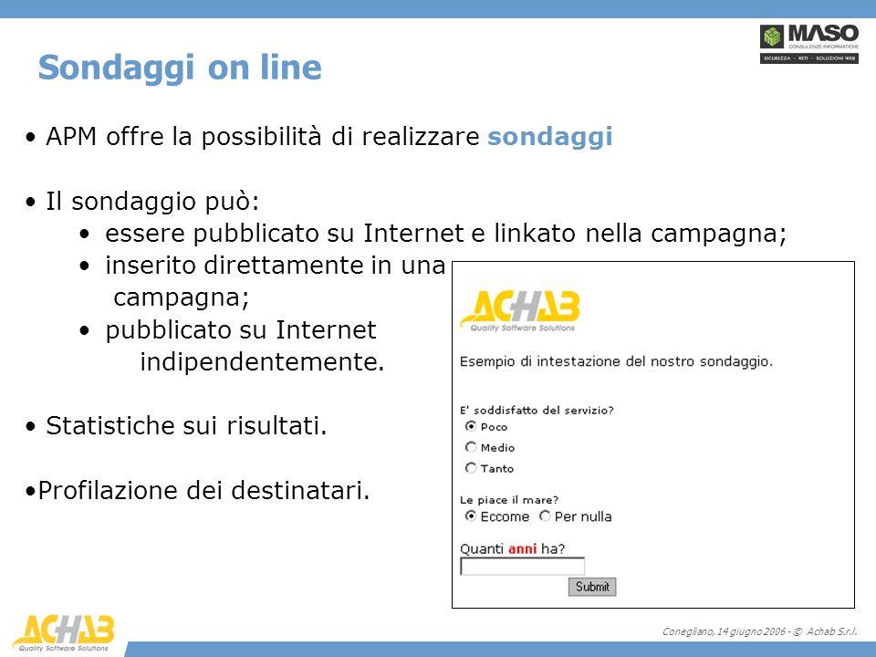 Conegliano, 14 giugno 2006 - © Achab S.r.l. Sondaggi on line APM offre la possibilità di realizzare sondaggi Il sondaggio può: essere pubblicato su In